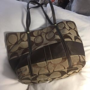 Coach Bag- Brown, Multicolor Lining, Leather
